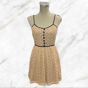 F21 | Adorable Cream Lace Dress with Navy Details